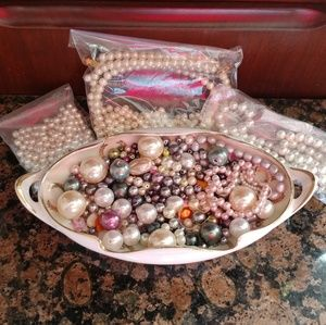 Pearl beads of different shapes, sizes & colors